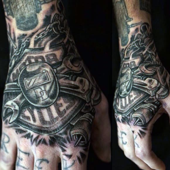 Mens Harley Davidson Tools Tattoo On Hand