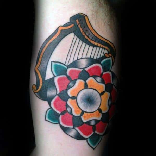 Mens Harp Tattoo Inner Arm Traditional Design