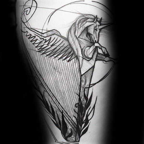 Mens Harp Tattoo Sketched Design On Leg