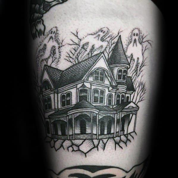 Mens Haunted House Tattoo Design Inspiration