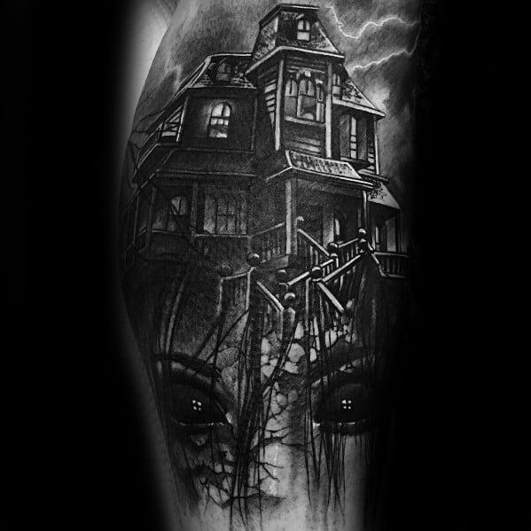 Mens Haunted House Tattoo