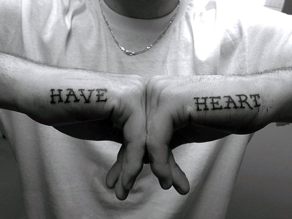Mens Have Heart Side Of Hand Word Tattoos