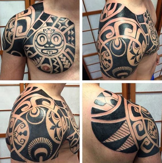 Mens Hawaiian Tribal Shoulder And Chest Tattoos