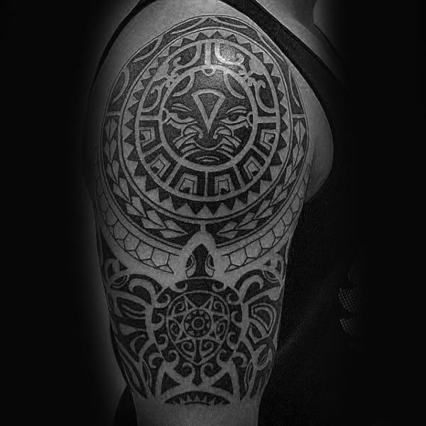 50 tribal sun tattoo designs for men black ink rays. Black Bedroom Furniture Sets. Home Design Ideas