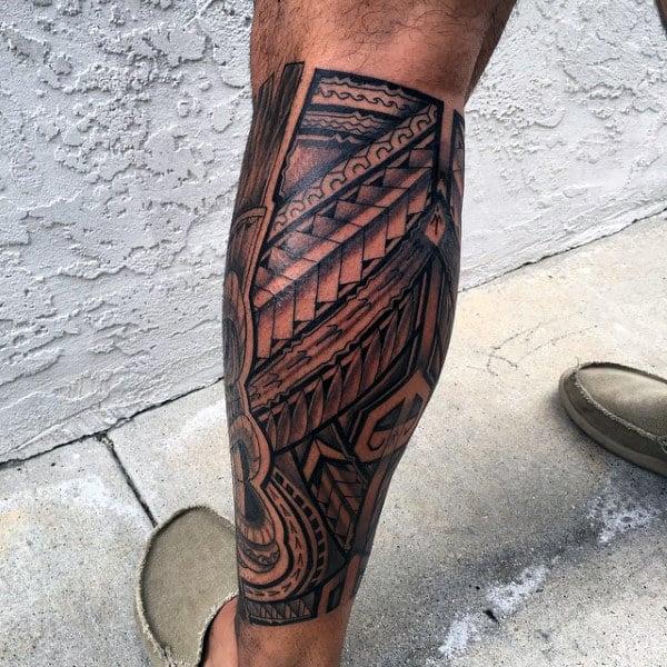 Men's Hawaiian Tribal Tattoo On Legs