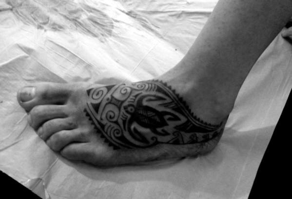 Mens Hawaiian Tribal Turtle Tattoo On Foot