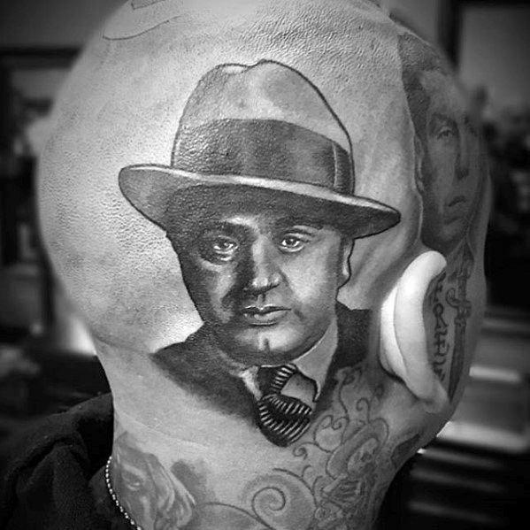 Mens Head Al Capone Tattoo Design Inspiration