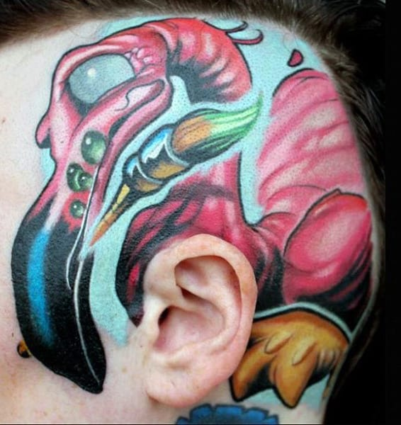 Mens Head New School Tattoo