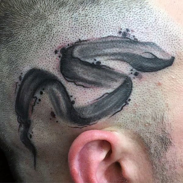 Mens Head Paint Brush Stroke Tattoo