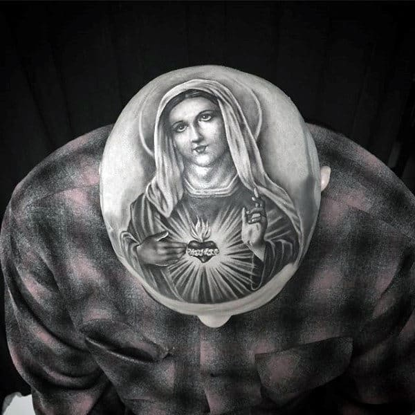Mens Head Tattoo Of Virgin Mary