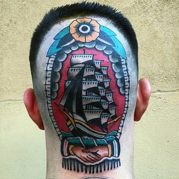Mens Head Traditional Ship With Sails Tattoo