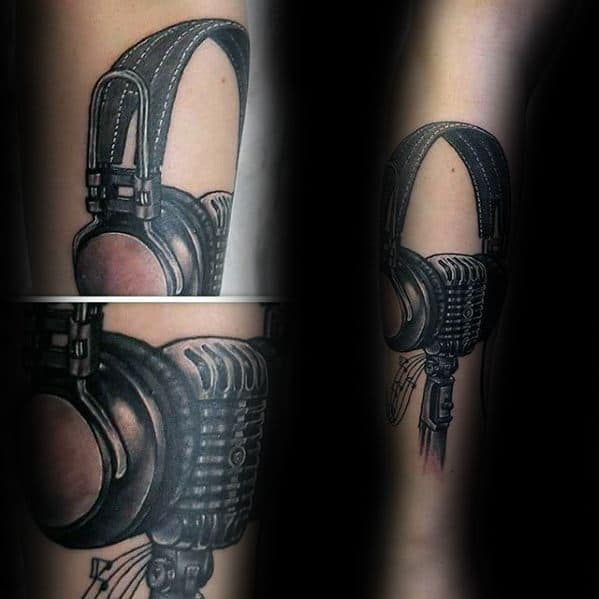 Mens Headphones Forearm Tattoo Design Inspiration