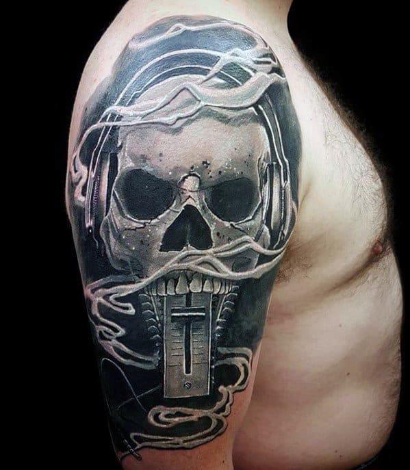 Mens Headphones Skull Half Sleeve Tattoo Ideas
