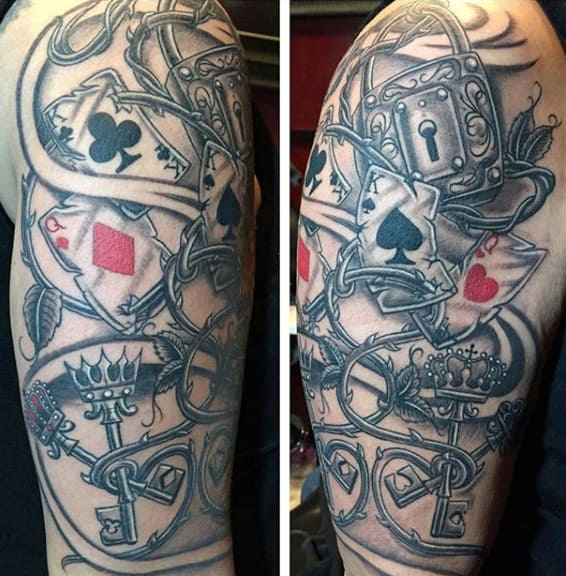 Mens Heart And Key Tattoos