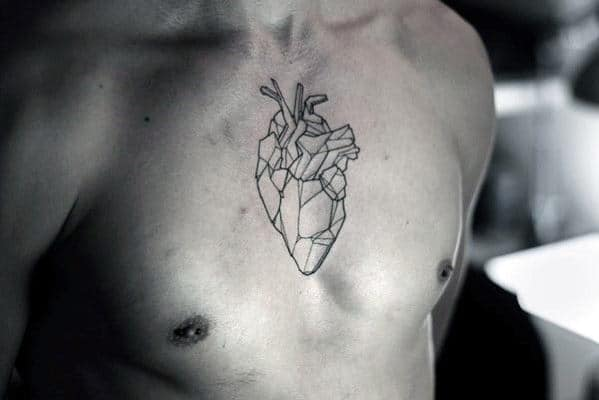 Men's Heart Chest Tattoos