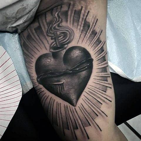 Mens Heart Inner Arm Tattoo With Sun Rays