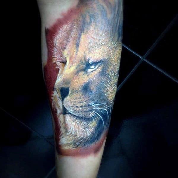 Men's Heart Of A Lion Tattoo