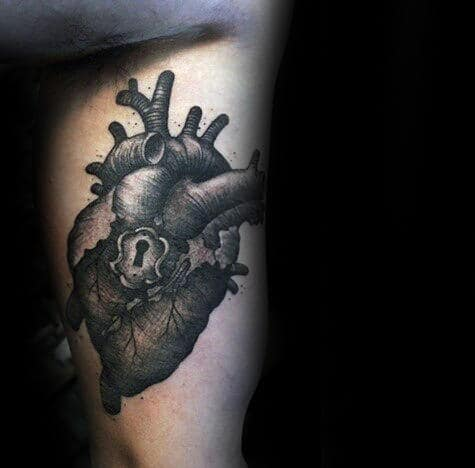 Mens Heart With Lock Inner Arm Tattoo Designs On Bicep