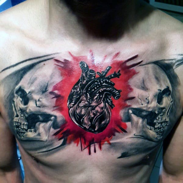 Mens Heart With Skulls Awesome Watercolor Chest Tattoo