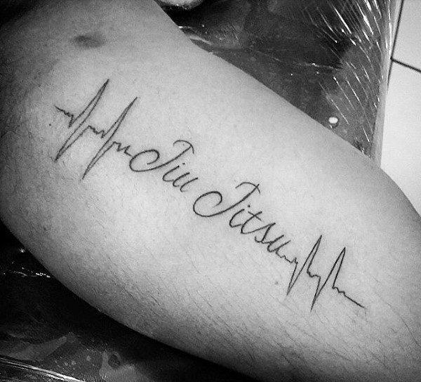 Mens Heartbeat Jiu Jitsu Word Tattoo On Bicep