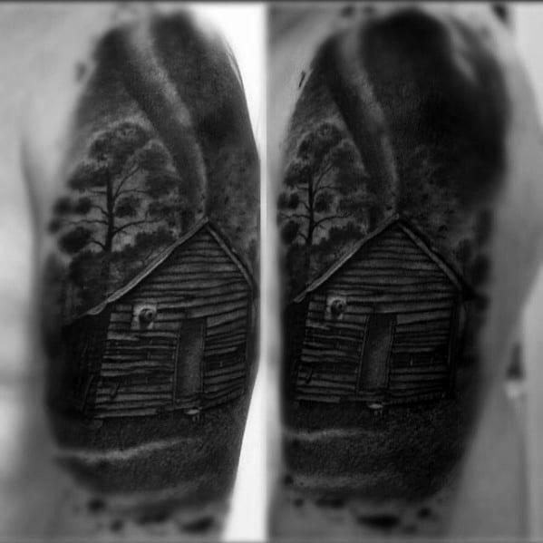 Mens Heavily Shaded Black And Grey Cabin Tornado Arm Tattoo