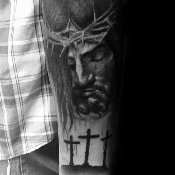 Mens Heavily Shaded Catholic Three Crosses Jesus Forearm Tattoo