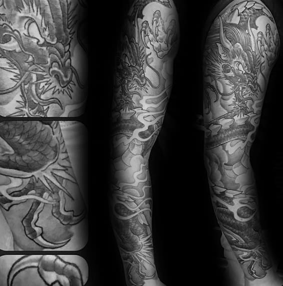 Mens Heavily Shaded Dragon Full Arm Tattoos