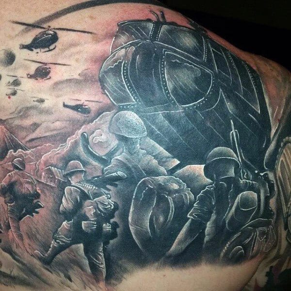 Mens Helicopter Army Back Tattoo Design With Soilders