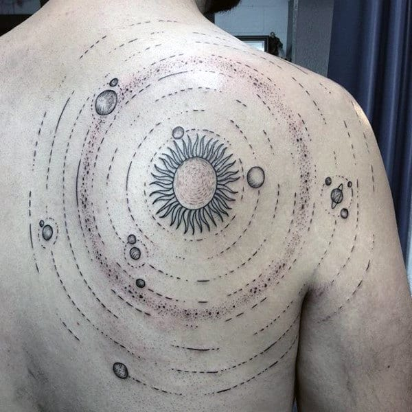 Mens Heliocentric Solar System Tattoo On Back