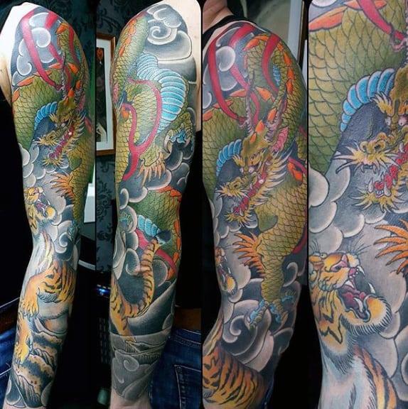 Mens Hideous Dragon Japanese Sleeve Tattoo