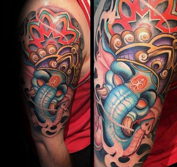 Mens Hinduism Colorful Ganesh 3d Half Sleeve Tattoos
