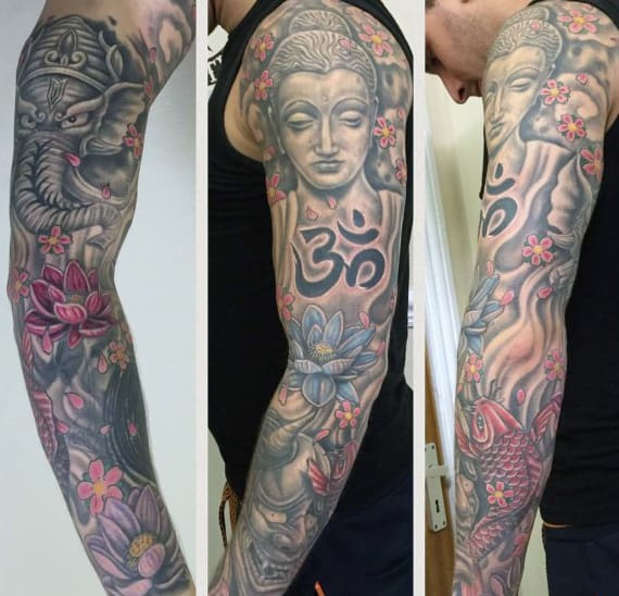 Mens Hinduism Sleeve Tattoo With Om Design In Black Ink