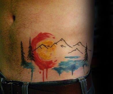 Mens Hip Ribs Colorado Watercolor Tattoos