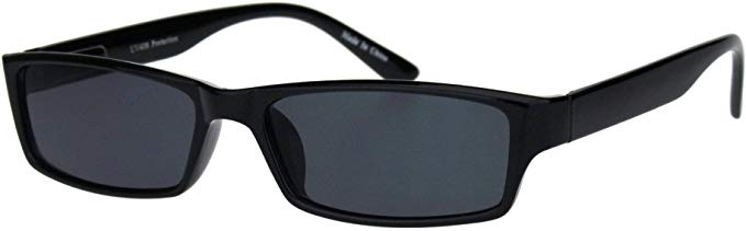 mens hippie pimp color lens narrow rectangular black frame sunglasses