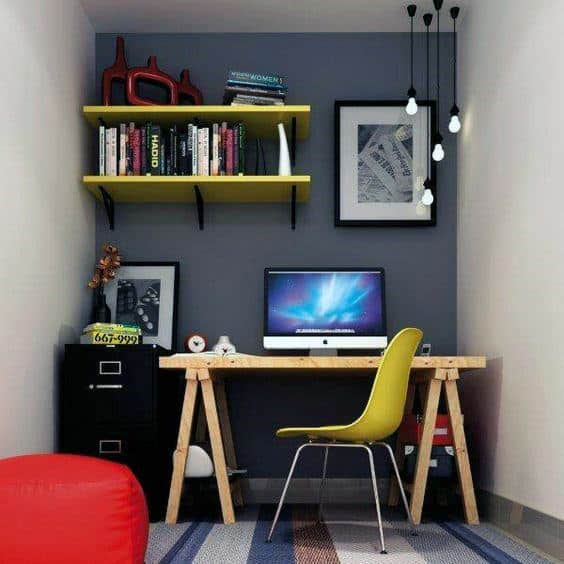 75 small home office ideas for men masculine interior for Small home office layout ideas
