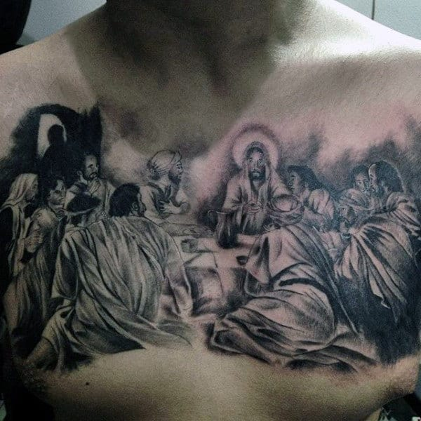 Mens Holy Last Supper Chest Tattoo