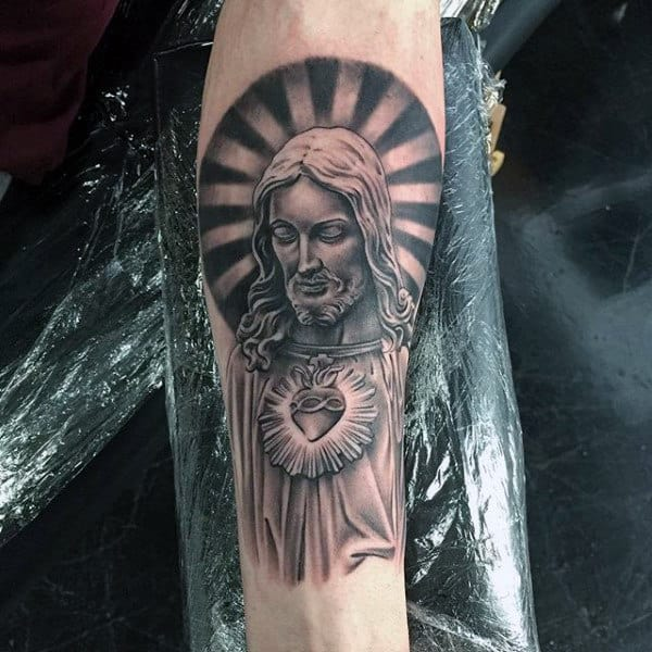 Mens Holy Spirit Jesus Tattoo On Inner Forearm