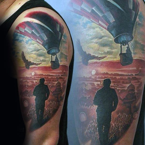 Mens Hot Air Ballon Sky Half Sleeve Tattoo Ideas