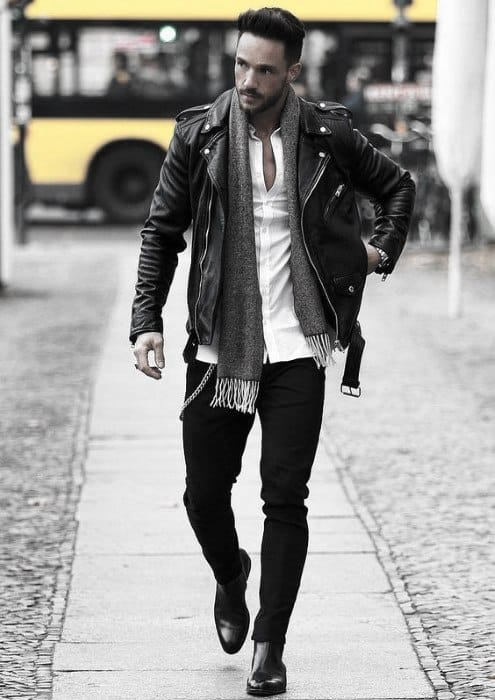 561a47a4fd5 Mens How To Wear A Leather Jacket Leather Jacket Outfits Styles Fall Season  Scarf