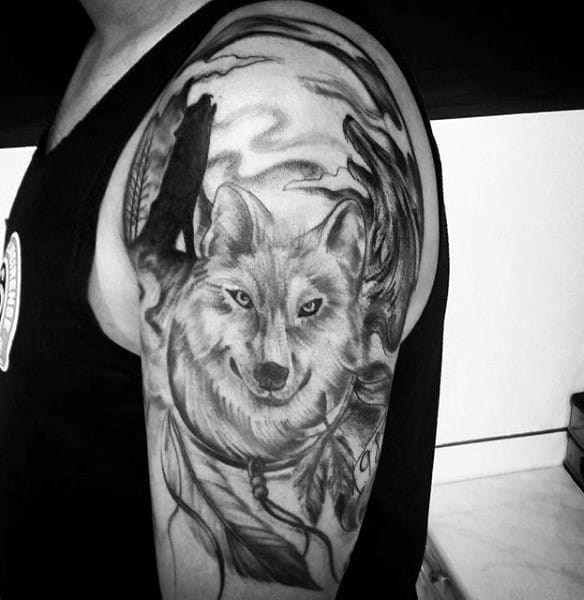 Mens Howling Wolf Themed Dreamcatcher Tattoos On Arm