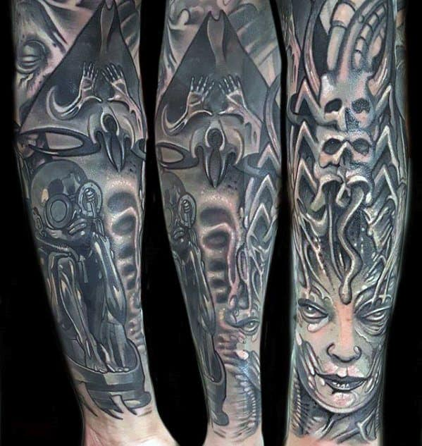 50 Hr Giger Tattoo Designs For Men - Swiss Painter Ink Ideas