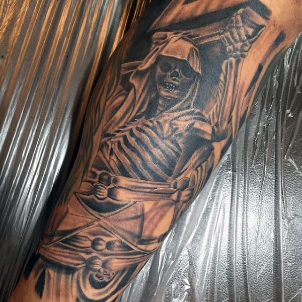 Men's Human Skeleton Tattoo