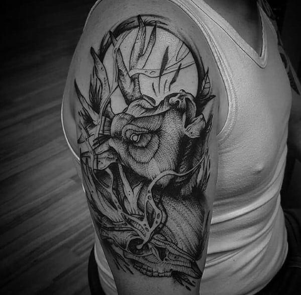 Mens Hunting Elk Arm Tattoo