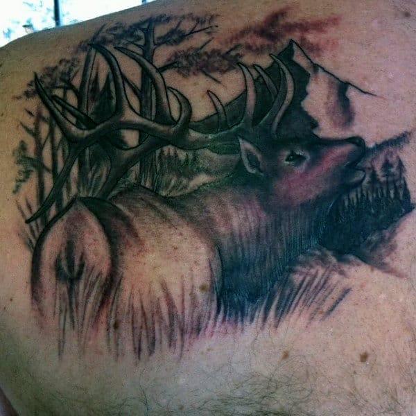 Deer Grazing Men's Hunting Tattoos Ideas