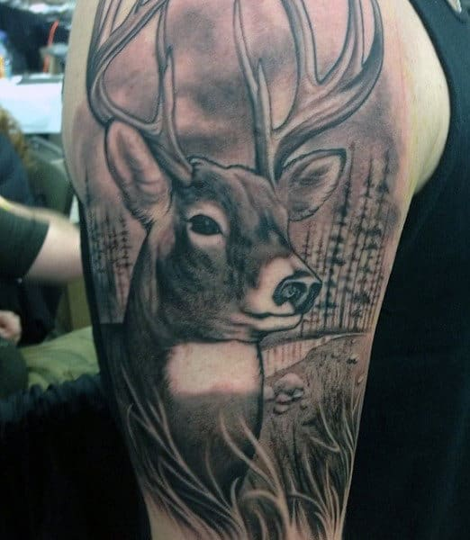 Men's Hunting Tattoo Of Deer