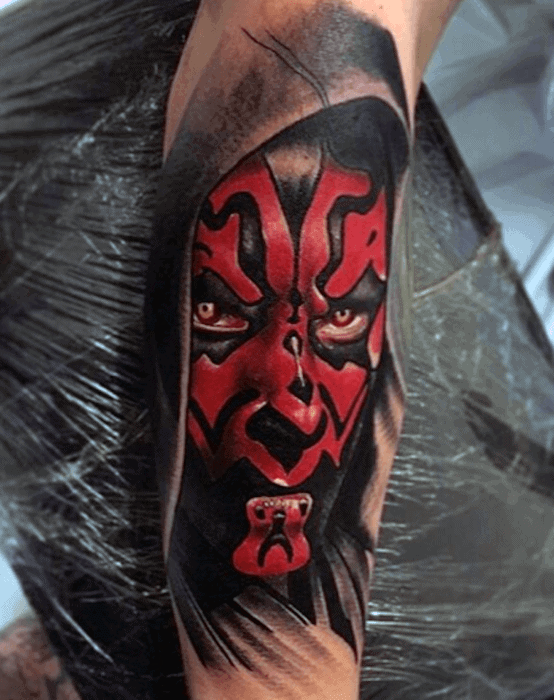 Mens Hyper Realistic 3d Forearm Cool Darth Maul Tattoo Ideas