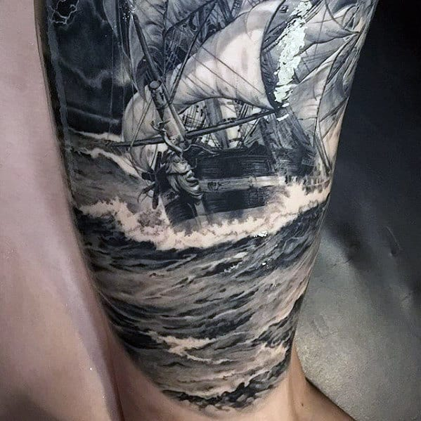 Mens Hyper Realistic Boat Sailing On Ocean Waves Sleeve Tattoo
