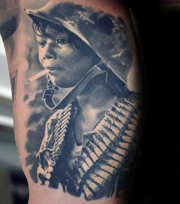 Mens Hyper Realistic Child Soilder Inner Arm Bicep Tattoo