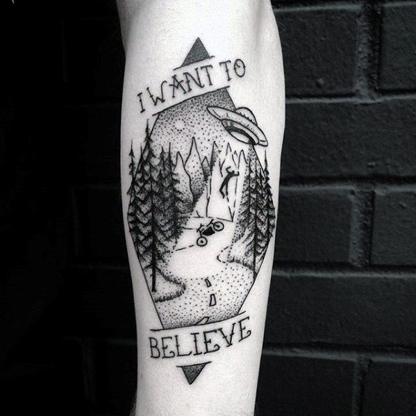 50 I Want To Believe Tattoo Designs For Men