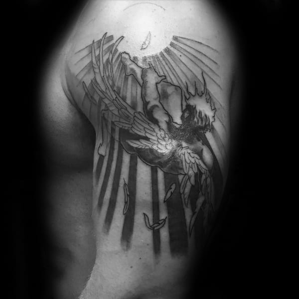 Mens Icarus Greek Mythology Upper Arm Tattoo Ideas